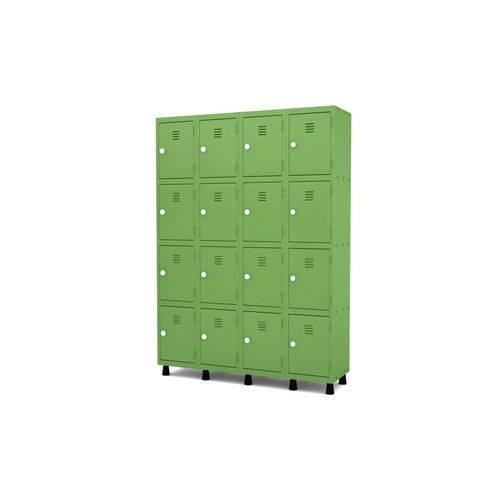 Roupeiro de Aço 4 Vãos 16 Portas com Fechadura Pandin - Verde Miró