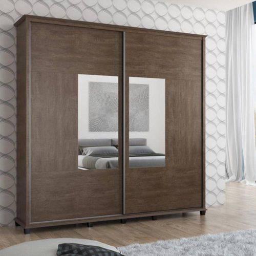 Roupeiro Monte Carlo 2 Portas C/ Espelho - Noce - Rv Móveis