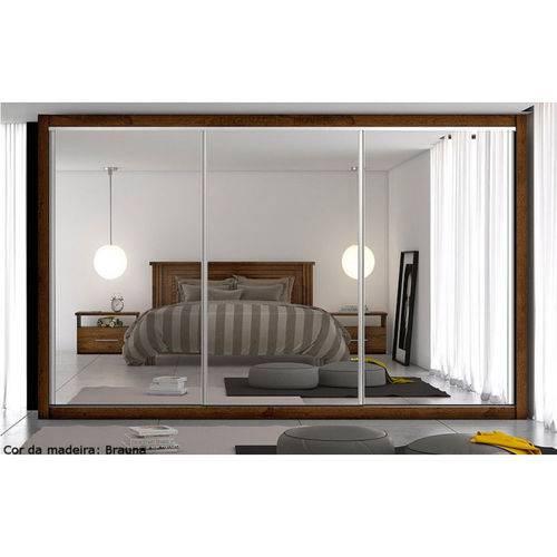 Roupeiro Toronto 3 Portas Espelhadas, Costa de 3mm 100% MDF Brauna Móveis Europa