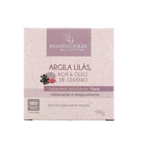 Sabonete Esfoliante Facial Natural de Argila Lilás, Açaí e Óleo de Gerânio 90g – Reserva Folio