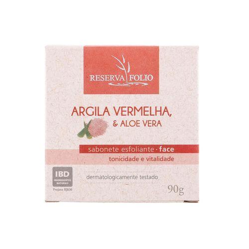 Sabonete Esfoliante Facial Natural de Argila Vermelha e Aloe Vera 90g – Reserva Folio