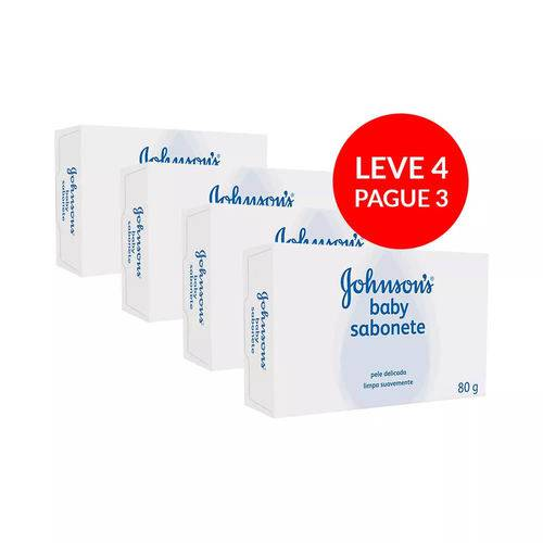 Sabonete Johnson Infantil Regular 80g Leve 4 Unidades e Pagu