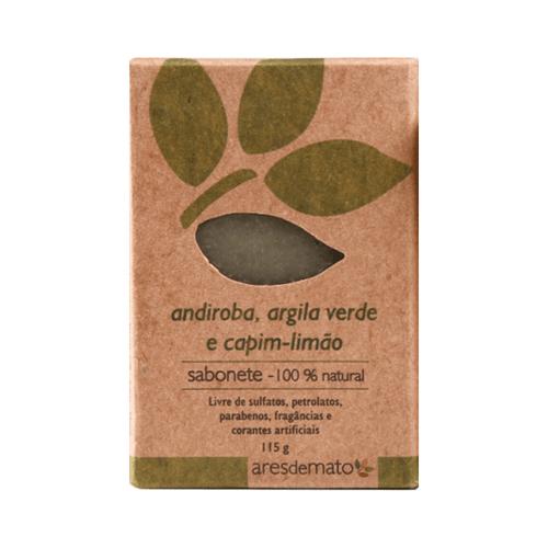 Sabonete Natural de Argila Verde, Andiroba e Capim Limão 115g - Ares de Mato