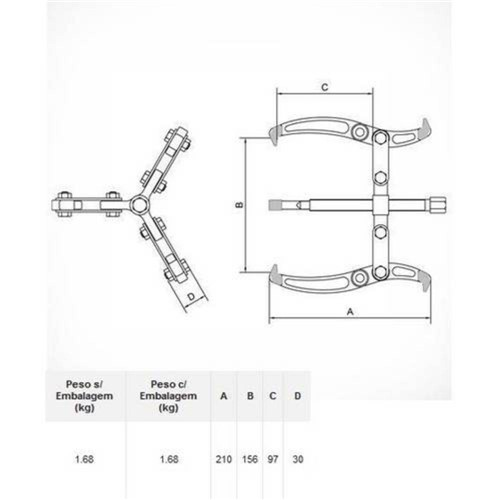 Saca Polia com 3 Garras Articuladas 4408006 Tramontina Pro