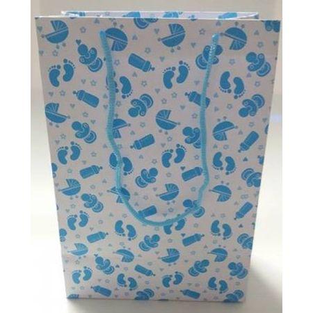 Sacola Cartonada 21,5x15x8cm Bebê Azul Sacola Cartonada 21,5x15x8cm Chá de Bebê Azul - 10 Unidades