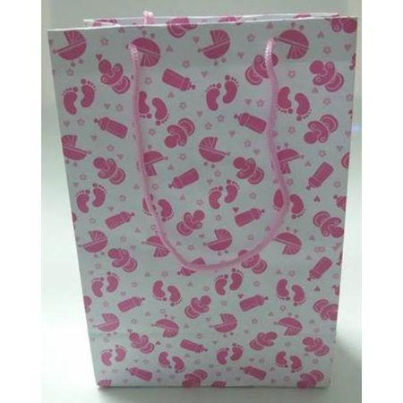 Sacola Cartonada 21,5x15x8cm Bebê Rosa Sacola Cartonada 21,5x15x8cm Chá de Bebê Rosa - 10 Unidades