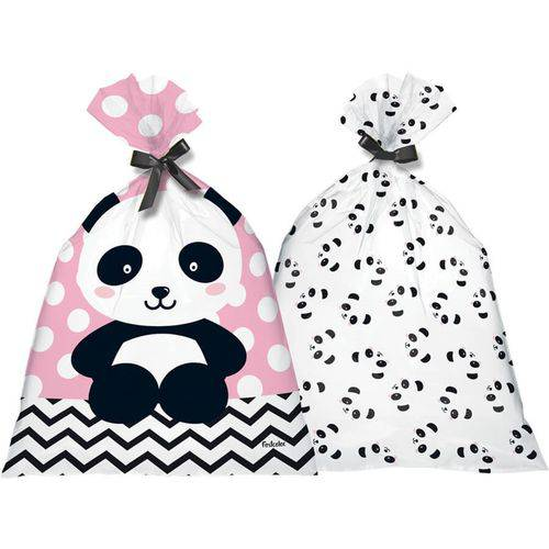 Sacola Plástica Panda Baby 08 Unidades Festcolor