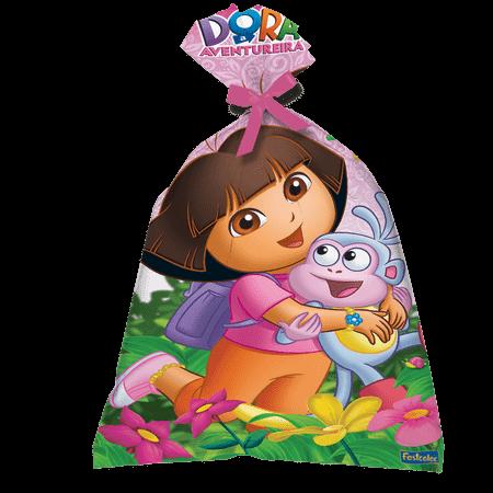Sacola Surpresa Plástica Dora Aventureira - 08 Unidades