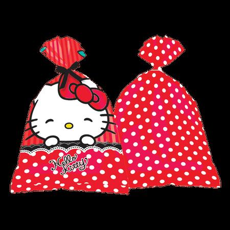 Sacola Surpresa Plástica Hello Kitty - 08 Unidades - Vermelho
