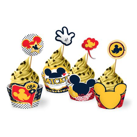Saia Cupcake C/ Enfeite Mickey Clássico Saia para Cupcake com Enfeite Mickey Clássico - 12 Unidades