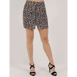 Saia Curta Animal Print Feminina Autentique Bege/onça M