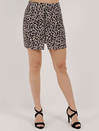 Saia Curta Animal Print Feminina Autentique Bege/onça