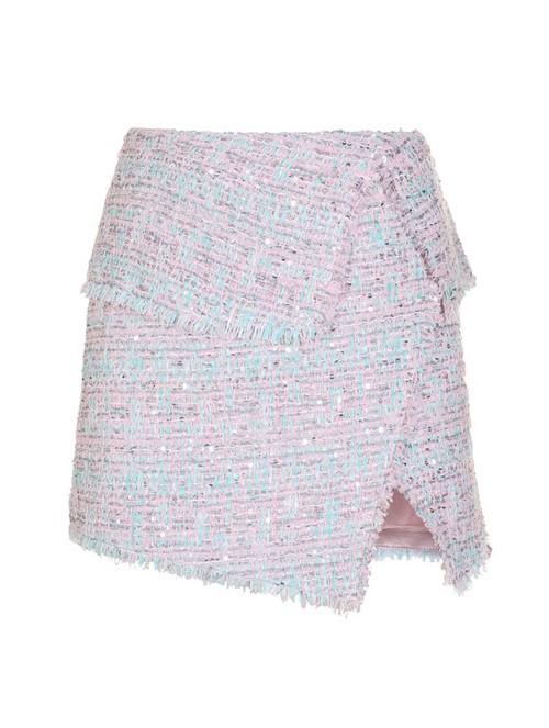 Saia Curta Tweed Rosa e Azul Tamanho 36
