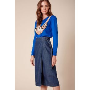 Saia Envelope Fivela e Barra Desfiada Jeans - 34