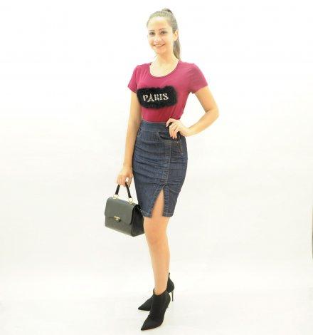 Saia Jeans Feminina com Fenda Lateral - Jeans