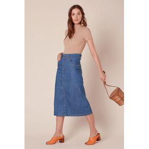 Saia Jeans Midi Evasê Jeans - 34
