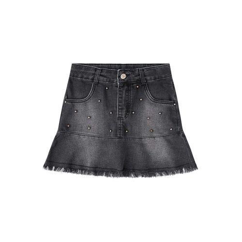 Saia Jeans Preta com Pedraria - 8