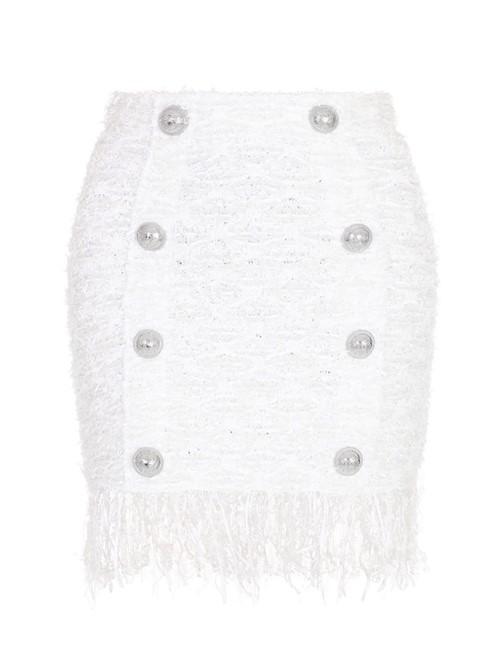 Saia Mini com Franjas de Tweed Branca Tamanho 42