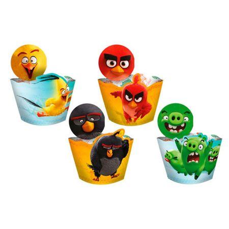 Saia para Cupcake com Enfeite Angry Birds - 12 Unidades