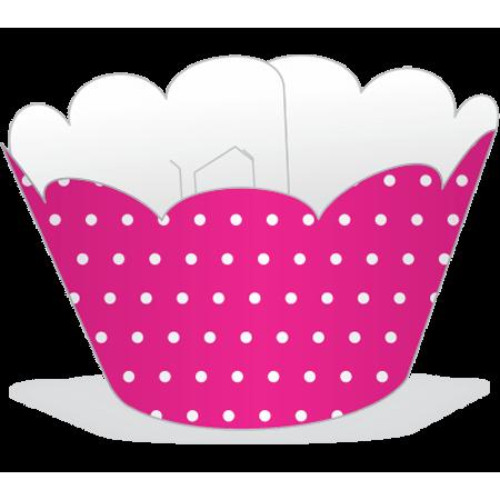 Saia para Cupcake Pink Poá Branco - 12 Unidades
