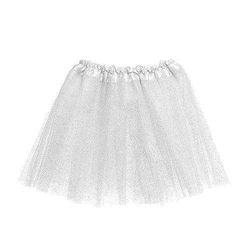 Saia Tutu Tule Infantil Carnaval Branco Glitter Unicórnio