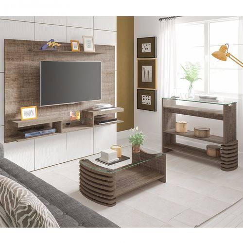 Sala de Estar com Painel, Aparador e Mesa de Centro Carmel Siena Móveis Canela