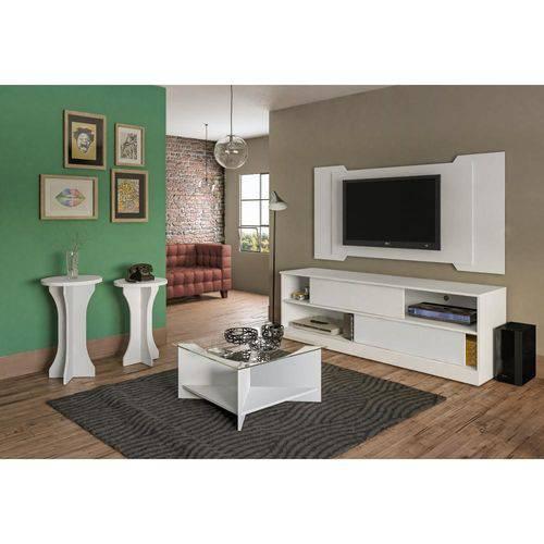 Sala de Estar Completa Artely com 4 Peças Painel Chicago + Rack Itália + Mesa de Centro Vitória + me