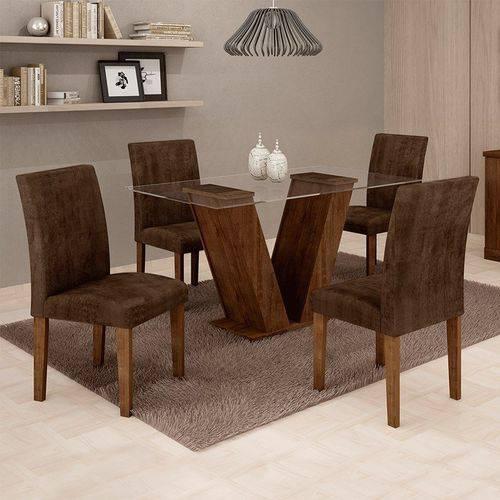 Sala de Jantar 4 Cadeiras Classic Chocolate Animale Marrom 52