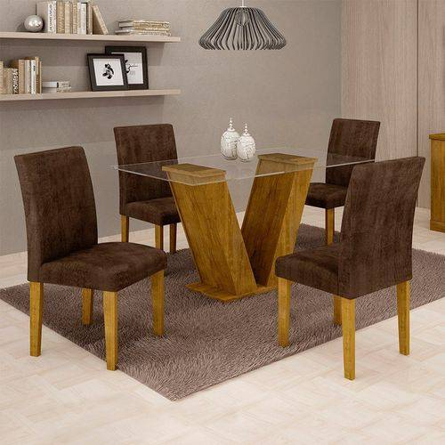 Sala de Jantar 4 Cadeiras Classic Ypê Animale Marrom 52