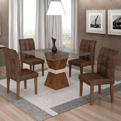 Sala de Jantar 4 Cadeiras Vitória Chocolate/off White Animale Marrom 52