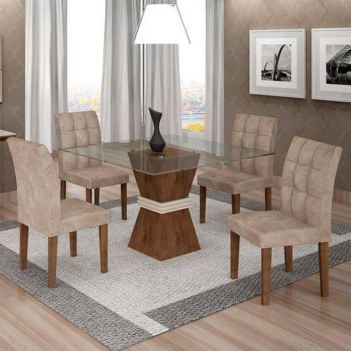 Sala de Jantar 4 Cadeiras Vitória Chocolate/off White Pena 84