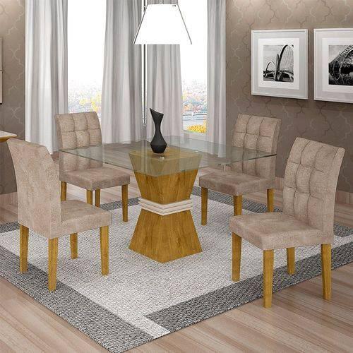 Sala de Jantar 4 Cadeiras Vitória Ypê/off White Pena 84