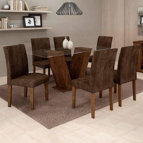 Sala de Jantar 6 Cadeiras Classic Chocolate Animale Marrom 52