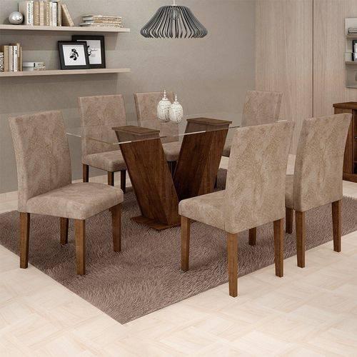 Sala de Jantar 6 Cadeiras Classic Chocolate Pena 84
