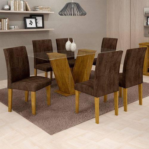 Sala de Jantar 6 Cadeiras Classic Ypê Animale Marrom 52