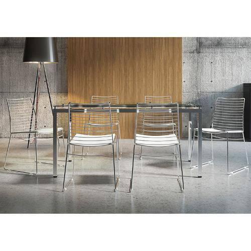 Sala de Jantar Carraro - Base Cromada 328 Vidro 160cm+6 Cadeiras 1712 Cromada/Branco-Branco