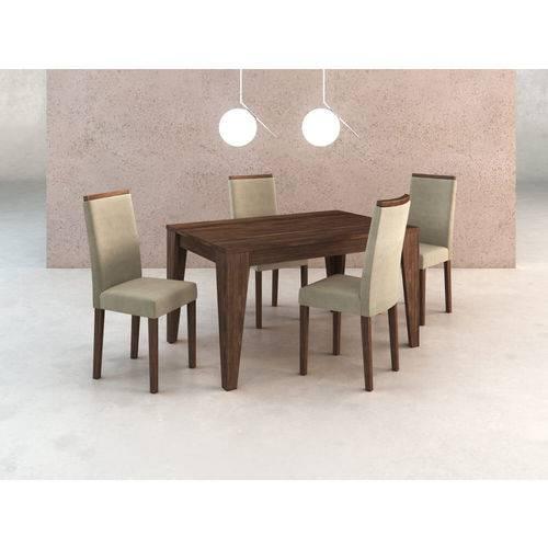 Sala de Jantar com 4 Cadeiras Estofadas Suede - Vanila/nogal
