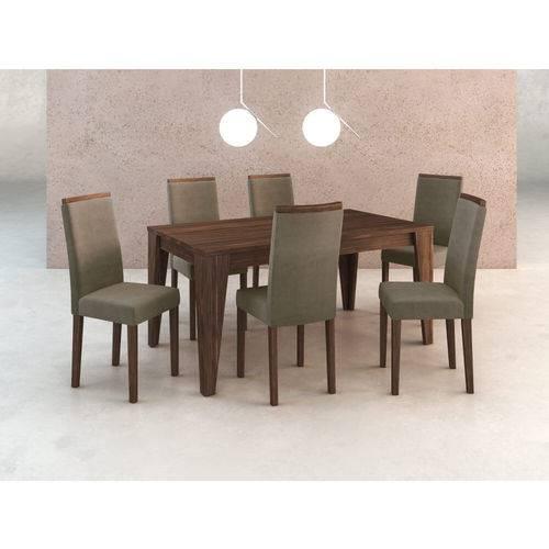 Sala de Jantar com 6 Cadeiras Estofadas Suede - Graveto/nogal