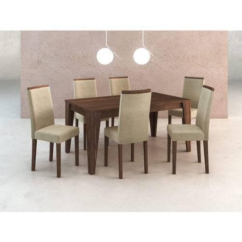 Sala de Jantar com 6 Cadeiras Estofadas Suede - Vanila/nogal