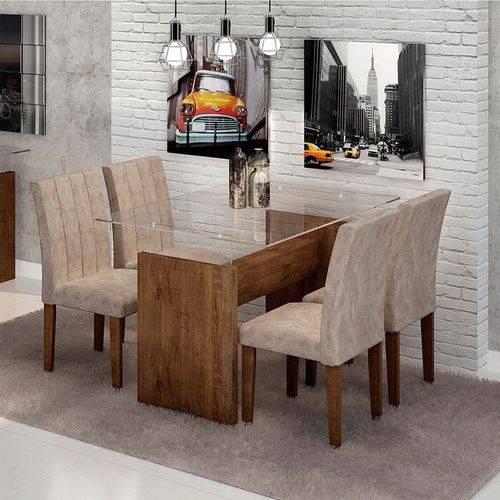 Sala de Jantar Evidence 4 Cadeiras Miami Chocolate Pena 84