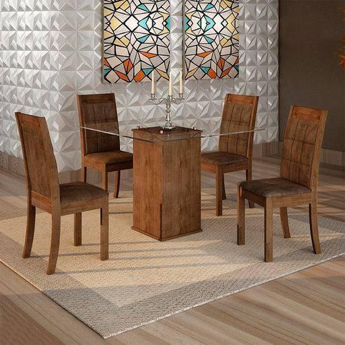 Sala de Jantar Havana 4 Cadeiras Rubi Chocolate Animale Marrom 52