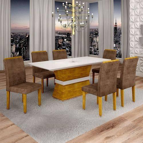 Sala de Jantar Jade 6 Cadeiras Sevilha Ypê Animale Marrom 52