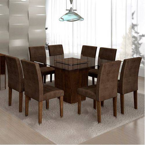 Sala de Jantar Ômega 8 Cadeiras Classic Chocolate Animale Marrom 52