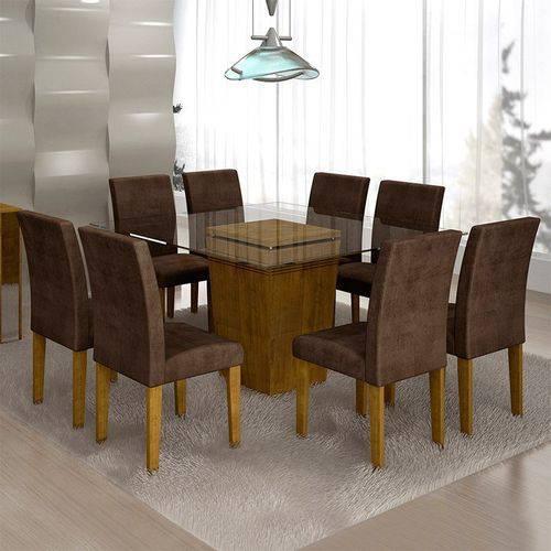Sala de Jantar Ômega 8 Cadeiras Classic Ypê Animale Marrom 52