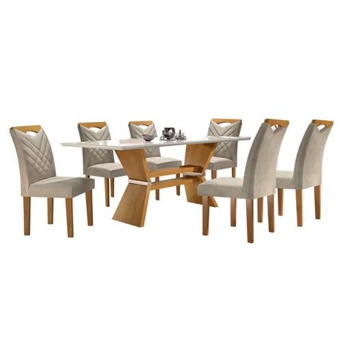 Sala de Jantar Oxford com 6 Cadeiras - Linho Bege