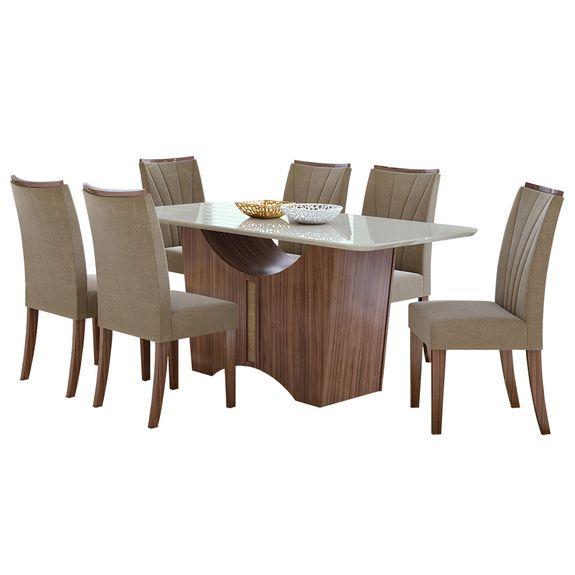 Sala de Jantar Rock 170cm com 6 Cadeiras - Sued Animale Bege