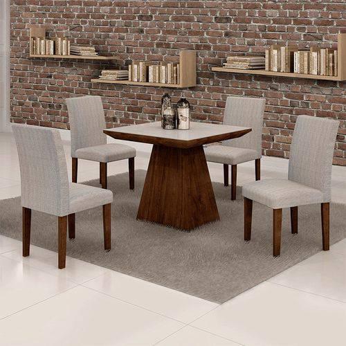 Sala de Jantar Sevilha 4 Cadeiras Classic Chocolate Suede Cinza 90