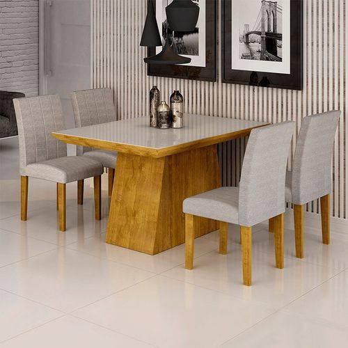 Sala de Jantar Sevilha I 4 Cadeiras Miami Ypê Suede Cinza 90