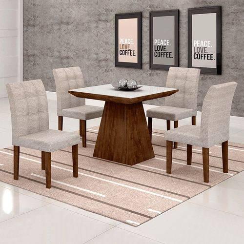 Sala de Jantar Sevilha Ii 4 Cadeiras Miami Chocolate Suede Cinza 90