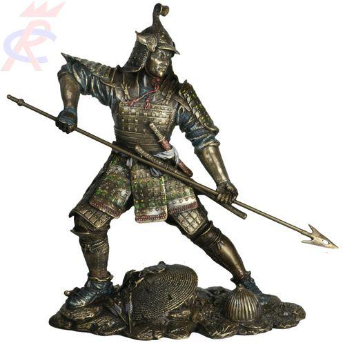 Samurai Decorativo com Lança em Resina 24 Cm